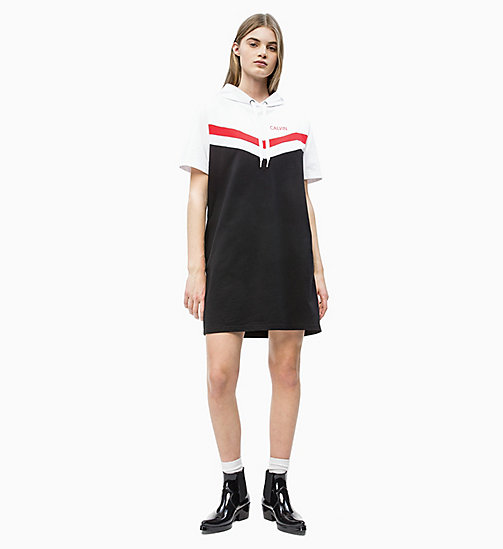 CALVIN KLEIN JEANS Hooded Sweatshirt Dress - CK BLACK/ WHITE/ RED - CALVIN KLEIN JEANS NEW IN - detail image 1