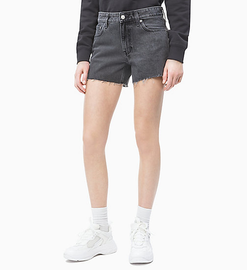 CALVIN KLEIN JEANS Mid Rise Denim-Shorts - WINDY BLACK RAW EMBROIDERY RED RAW - CALVIN KLEIN JEANS DENIM SHOP - main image