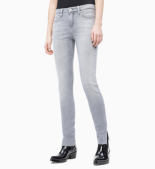 CALVIN KLEIN JEANS CKJ 011 Mid Rise Skinny Ankle Jeans - JULIE GREY SPLIT  HEM ... 3315abccf6b7