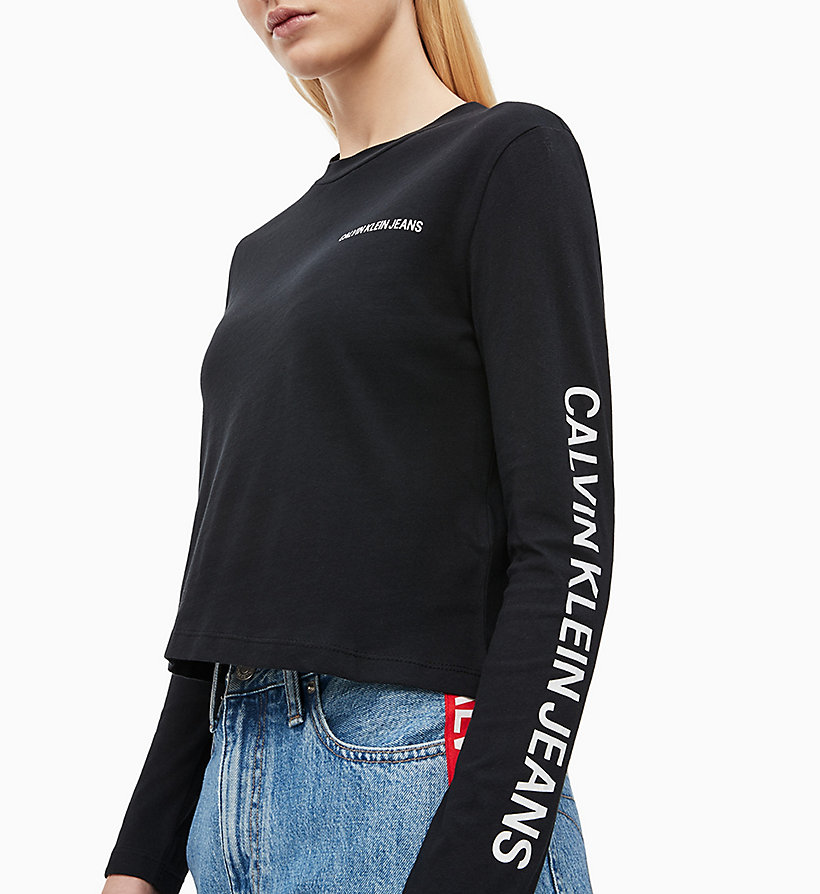 CALVIN KLEIN JEANS Cropped Long-Sleeve T-shirt - BRIGHT WHITE - CALVIN KLEIN JEANS WOMEN - detail image 2
