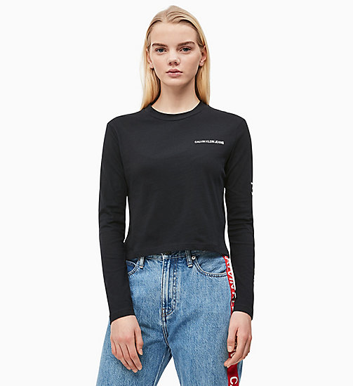 CALVIN KLEIN JEANS Cropped Long-Sleeve T-shirt - CK BLACK - CALVIN KLEIN JEANS NEW IN - main image