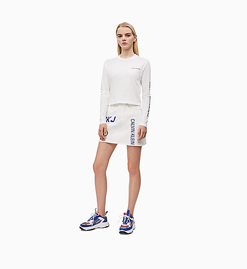 CALVIN KLEIN JEANS Cropped Long-Sleeve T-shirt - BRIGHT WHITE - CALVIN KLEIN JEANS NEW IN - detail image 1