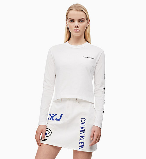 CALVIN KLEIN JEANS Cropped Long-Sleeve T-shirt - BRIGHT WHITE - CALVIN KLEIN JEANS NEW IN - main image