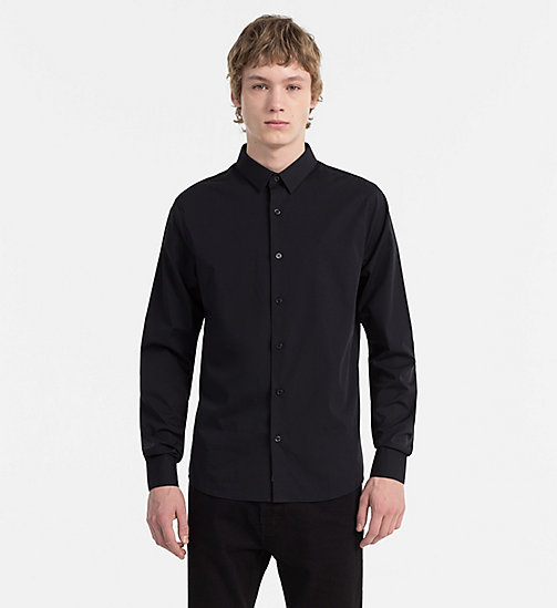 CALVIN KLEIN JEANS Slim Cotton-Stretch Shirt - CK BLACK - CALVIN KLEIN JEANS CLOTHES - main image