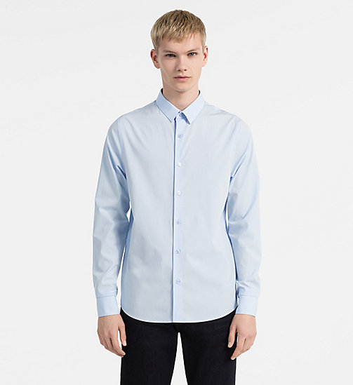 CALVIN KLEIN JEANS Slim Cotton-Stretch Shirt - SOFT BLUE - CALVIN KLEIN JEANS SHIRTS - main image