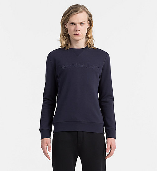 CALVIN KLEIN JEANS Embossed Logo Sweatshirt - NIGHT SKY - CALVIN KLEIN JEANS CLOTHES - main image