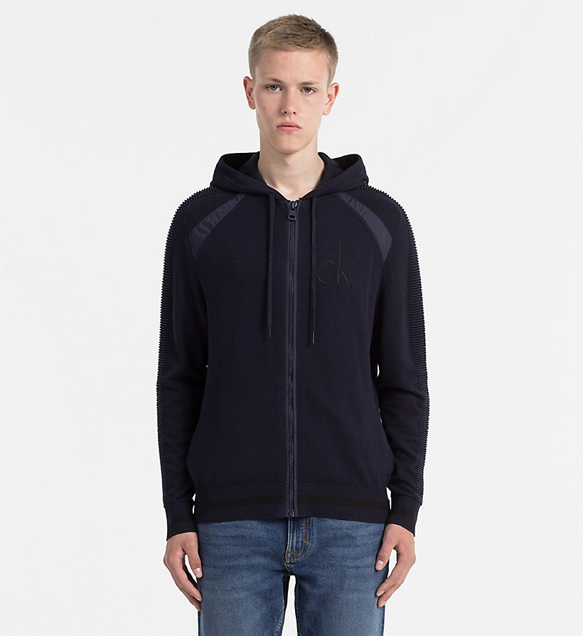 CALVIN KLEIN JEANS Hooded Zip-Through Cardigan - CK BLACK - CALVIN KLEIN JEANS JUMPERS - main image