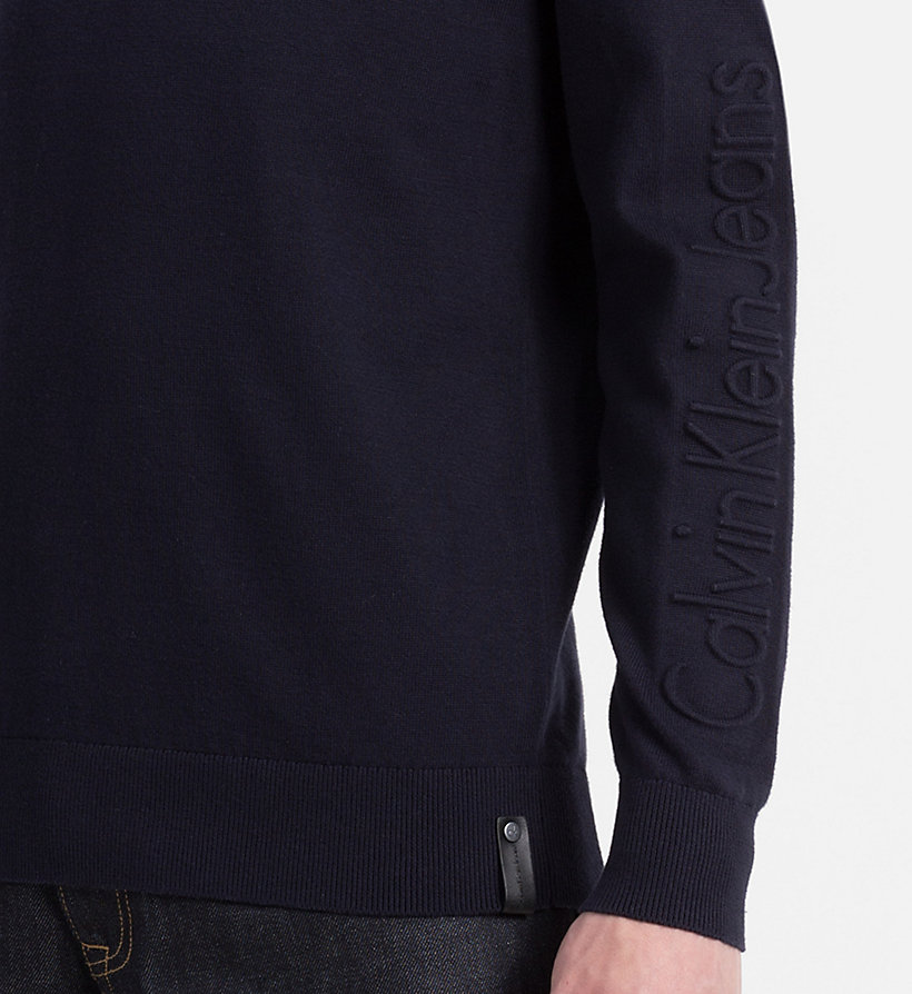 CALVIN KLEIN JEANS Embossed Logo Sweater - LIGHT GREY HEATHER - CALVIN KLEIN JEANS JUMPERS - detail image 4
