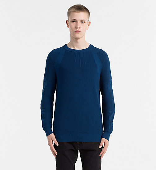 CALVIN KLEIN JEANS Textured Knit Sweater - SAILOR BLUE - CALVIN KLEIN JEANS CLOTHES - main image