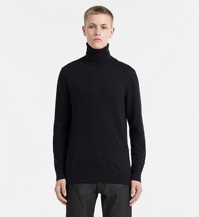 CALVIN KLEIN JEANS Cotton Cashmere Turtleneck Sweater - MID GREY HEATHER - CALVIN KLEIN JEANS JUMPERS - main image