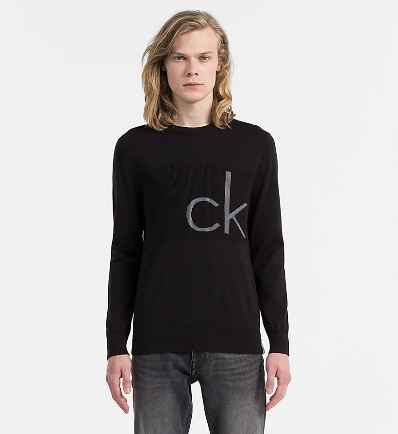 CALVIN KLEIN JEANS Intarsia Logo Sweater - GALAXY BLUE - CALVIN KLEIN JEANS JUMPERS - main image