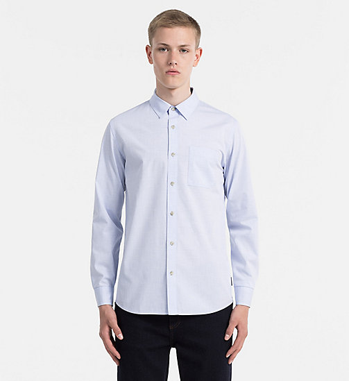 CALVIN KLEIN JEANS Slim Cotton Dobby Shirt - OMPHALODES - CALVIN KLEIN JEANS CLOTHES - main image
