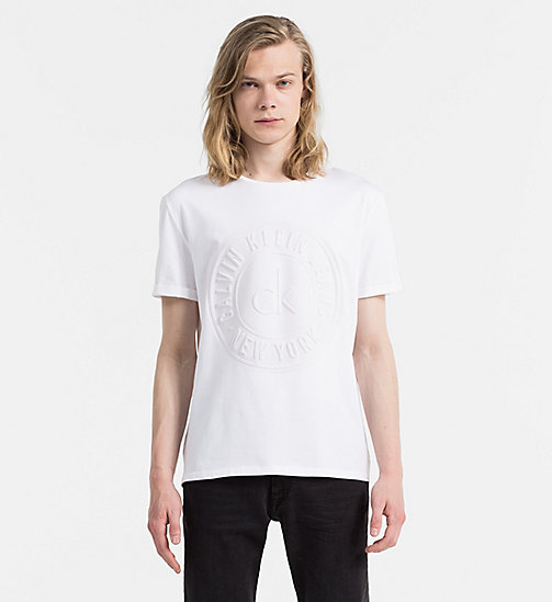 CALVIN KLEIN JEANS Embossed Logo T-shirt - BRIGHT WHITE - CALVIN KLEIN JEANS CLOTHES - main image