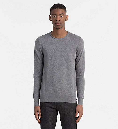 CALVIN KLEIN JEANS Cotton Stretch Sweater - MID GREY HEATHER - CALVIN KLEIN JEANS CLOTHES - main image