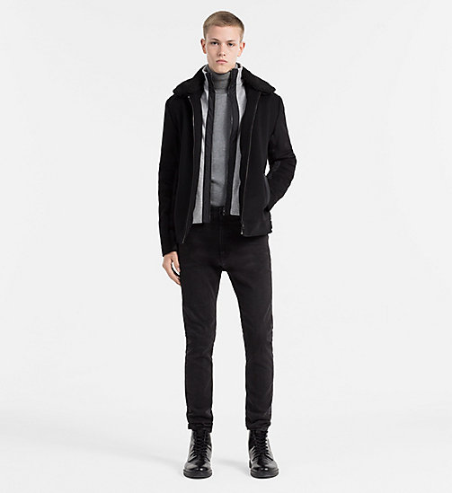 CALVIN KLEIN JEANS Wool Double Collar Jacket - CK BLACK - CALVIN KLEIN JEANS CLOTHES - detail image 1