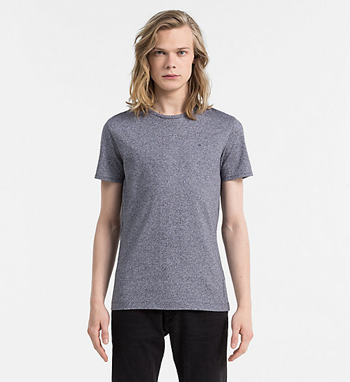 CALVIN KLEIN JEANS Regular Textured Cotton T-shirt - NIGHT SKY HEATHER - CALVIN KLEIN JEANS CLOTHES - main image