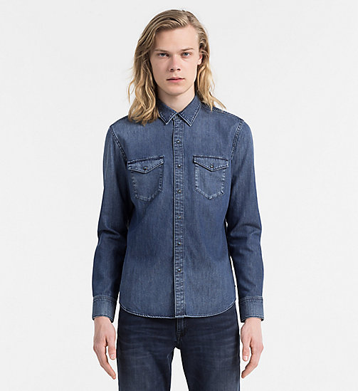 CALVIN KLEIN JEANS Slim Denim Shirt - SLOW BLUE MID - CALVIN KLEIN JEANS CLOTHES - main image