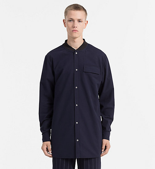 CALVIN KLEIN JEANS Oxford Cotton Long Shirt - NIGHT SKY - CALVIN KLEIN JEANS FITTED - main image
