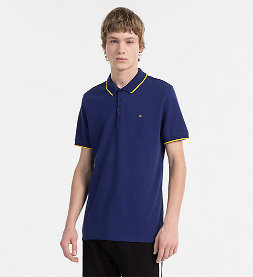 CALVIN KLEIN JEANS Slim Pima Cotton Piqué Polo - BLUE DEPTHS - CALVIN KLEIN JEANS CLOTHES - main image