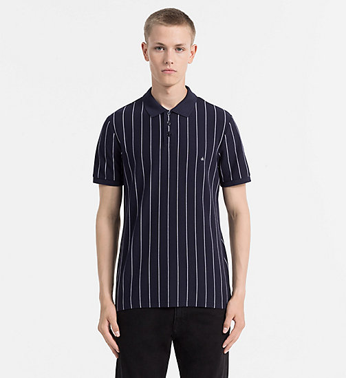 CALVIN KLEIN JEANS Cotton Piqué Stripe Polo - NIGHT SKY - CALVIN KLEIN JEANS NEW NECESSITIES - main image