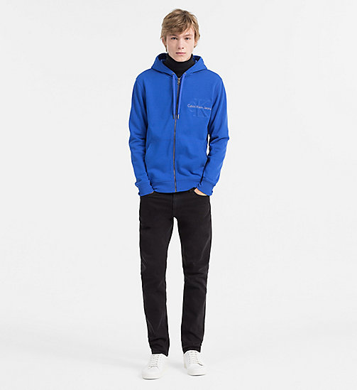CALVIN KLEIN JEANS Zip-Through Logo Hoodie - OLYMPIAN BLUE - CALVIN KLEIN JEANS CLOTHES - detail image 1