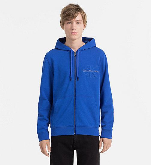 CALVIN KLEIN JEANS Zip-Through Logo Hoodie - OLYMPIAN BLUE - CALVIN KLEIN JEANS CLOTHES - main image