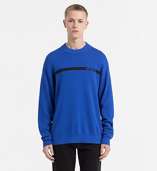 CALVIN KLEIN JEANS Intarsia Logo Jumper - OLYMPIAN BLUE - CALVIN KLEIN JEANS CLOTHES - main image