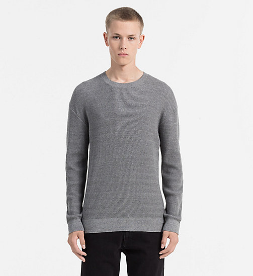 CALVIN KLEIN JEANS Textured Knit Jumper - MID GREY HEATHER - CALVIN KLEIN JEANS KNITWEAR - main image