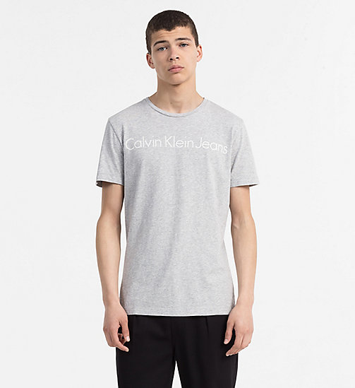 CALVIN KLEIN JEANS T-shirt slim in cotone biologico con logo - LIGHT GREY HEATHER - CALVIN KLEIN JEANS SWIM SHOP - immagine principale