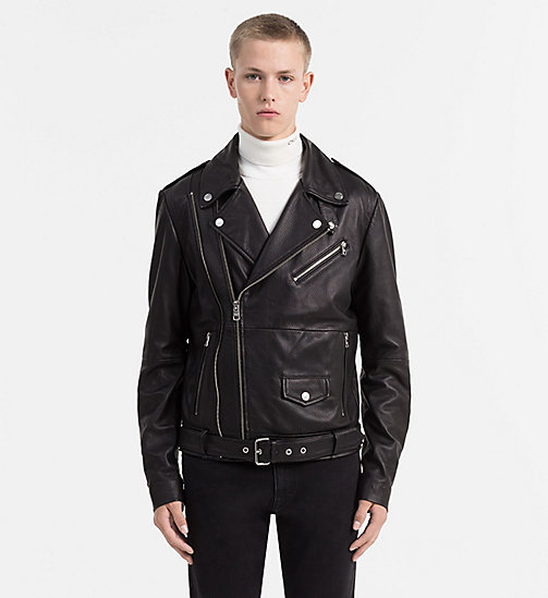 CALVIN KLEIN JEANS Leather Biker Jacket - CK BLACK - CALVIN KLEIN JEANS COATS & JACKETS - main image