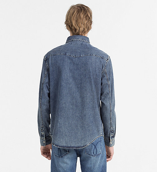 CALVIN KLEIN JEANS Denim Western Shirt - SOHO BLUE - CALVIN KLEIN JEANS FITTED - detail image 1
