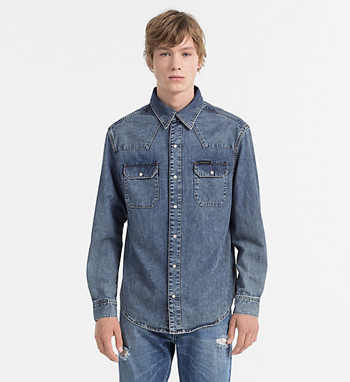 CALVIN KLEIN JEANS Denim Western Shirt - SOHO BLUE - CALVIN KLEIN JEANS FITTED - main image