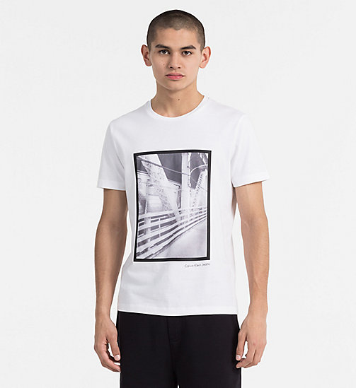 CALVIN KLEIN JEANS Mesh Print T-shirt - BRIGHT WHITE - CALVIN KLEIN JEANS NEW IN - main image