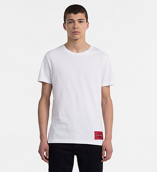 CALVIN KLEIN JEANS Organic Cotton T-shirt - BRIGHT WHITE / TANGO RED - CALVIN KLEIN JEANS TRUE COLOURS - main image