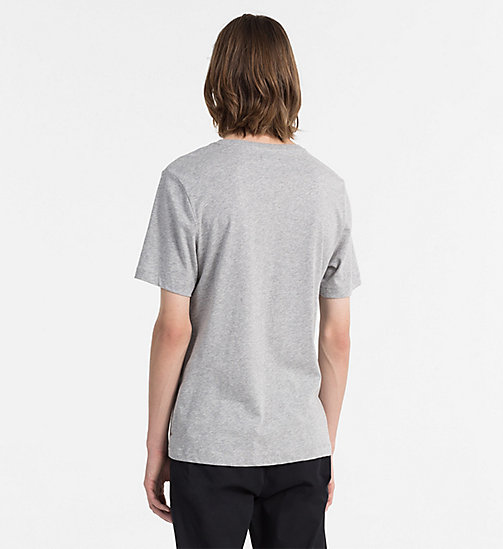 CALVIN KLEIN JEANS T-Shirt mit Flockprint - LIGHT GREY HEATHER - CALVIN KLEIN JEANS NEW IN - main image 1