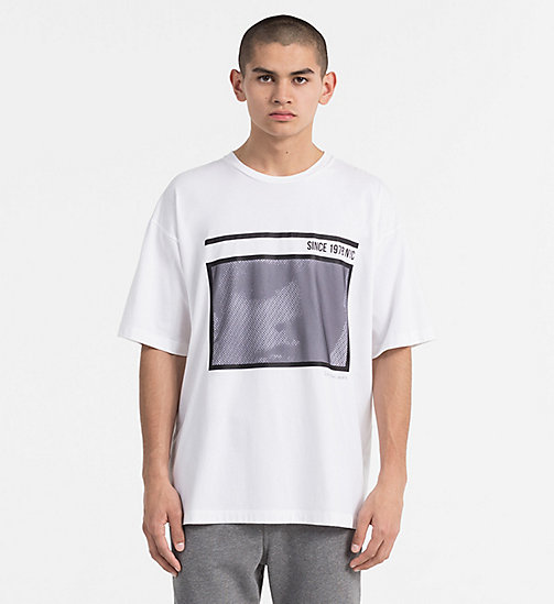 CALVIN KLEIN JEANS Relaxed Mesh Print T-shirt - BRIGHT WHITE - CALVIN KLEIN JEANS HEAT WAVE - main image