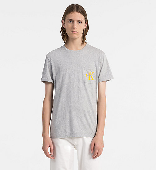 CALVIN KLEIN JEANS T-shirt con logo - LIGHT GREY HEATHER - CALVIN KLEIN JEANS LOGO SHOP - immagine principale