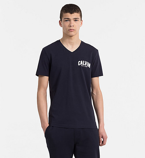 CALVIN KLEIN JEANS T-Shirt mit Flocked Logo - NIGHT SKY - CALVIN KLEIN JEANS NEW IN - main image