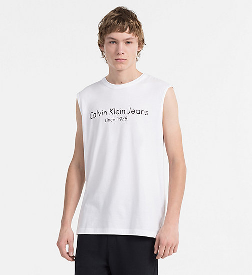 CALVIN KLEIN JEANS Organic Cotton Tank Top - BRIGHT WHITE - CALVIN KLEIN JEANS HEAT WAVE - main image