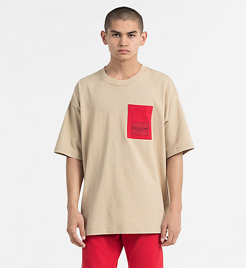 CALVIN KLEIN JEANS Contrast Pocket T-shirt - SAFARI - CALVIN KLEIN JEANS TRUE COLOURS - main image