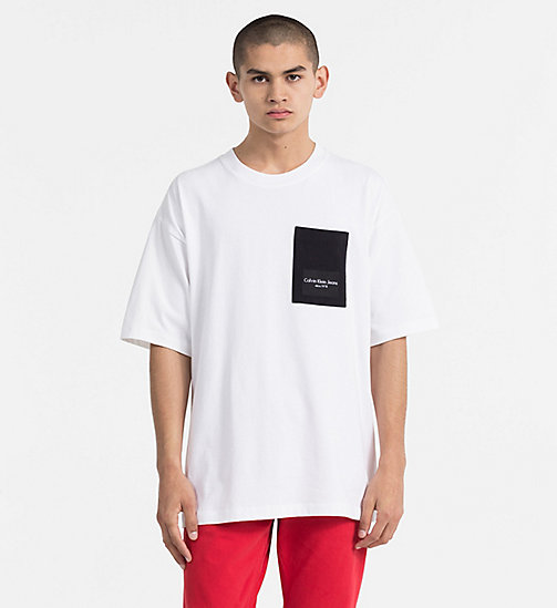 CALVIN KLEIN JEANS Contrast Pocket T-shirt - BRIGHT WHITE / CK BLACK - CALVIN KLEIN JEANS TRUE COLOURS - main image