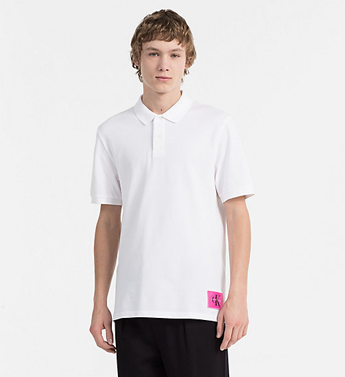 CALVIN KLEIN JEANS Cotton Piqué Polo - BRIGHT WHITE / WILD ORCHID - CALVIN KLEIN JEANS NEW IN - main image