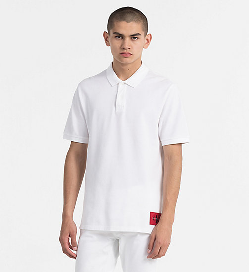 CALVIN KLEIN JEANS Cotton Piqué Polo - BRIGHT WHITE / TANGO RED - CALVIN KLEIN JEANS TRUE COLOURS - main image