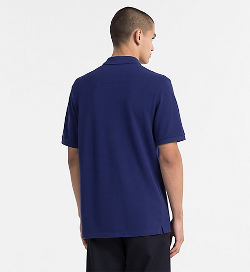 CALVIN KLEIN JEANS Cotton Piqué Polo - BLUE DEPTHS / SPECTRA YELLOW - CALVIN KLEIN JEANS NEW IN - detail image 1