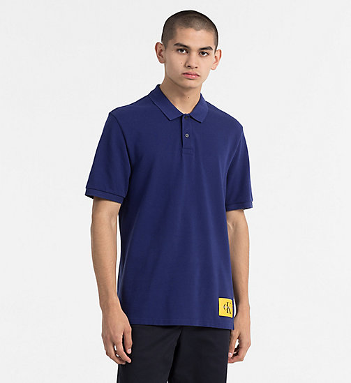 CALVIN KLEIN JEANS Cotton Piqué Polo - BLUE DEPTHS / SPECTRA YELLOW - CALVIN KLEIN JEANS CLOTHES - main image