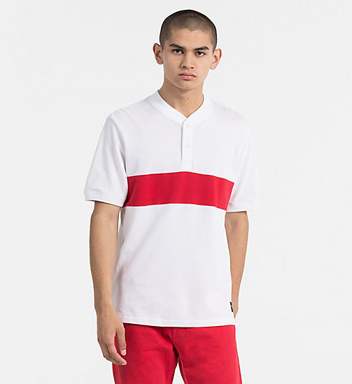 CALVIN KLEIN JEANS Block Stripe Polo - BRIGHT WHITE / TANGO RED - CALVIN KLEIN JEANS CLOTHES - main image