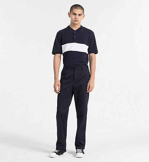 CALVIN KLEIN JEANS Block Stripe Polo - NIGHT SKY / BRIGHT WHITE - CALVIN KLEIN JEANS CLOTHES - detail image 1