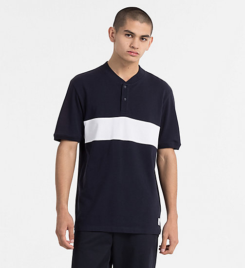 CALVIN KLEIN JEANS Block Stripe Polo - NIGHT SKY / BRIGHT WHITE - CALVIN KLEIN JEANS TRUE COLOURS - main image