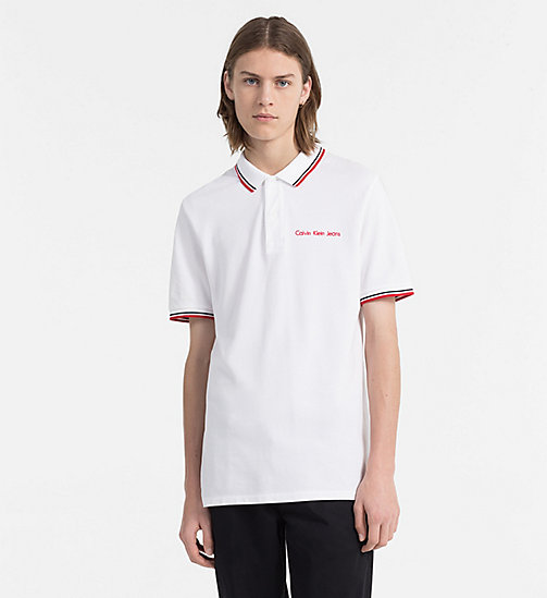 CALVIN KLEIN JEANS Cotton Piqué Polo - BRIGHT WHITE - CALVIN KLEIN JEANS TRUE COLOURS - main image