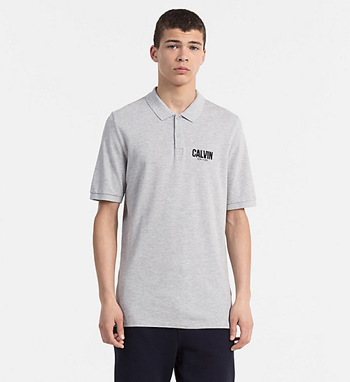 CALVIN KLEIN JEANS Slim Cotton Piqué Polo - LIGHT GREY HEATHER - CALVIN KLEIN JEANS NEW IN - main image